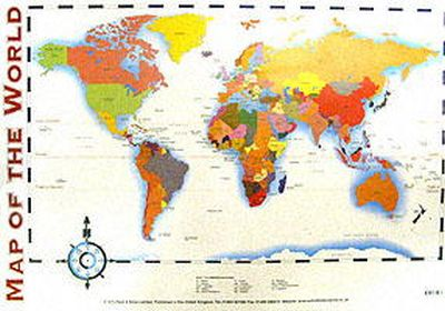 Wes Magee - Map of the World Laminated Poster (Wall Chart) - 9780721755960 - V9780721755960