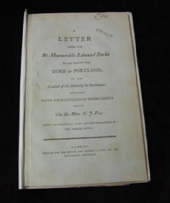 Edmund Burke - A Letter from the Rt. Honourable Edmund Burke to his Grace the Duke of Portland, on the Conduct of the Minority in Parliament -  - KHS0057428