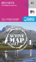 ORDNANCE SURVEY - Ben Nevis, Fort William & Glen Coe (OS Landranger Active Map) - 9780319473641 - V9780319473641