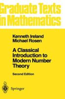 Ireland, Kenneth F.; Rosen, Michael - Classical Introduction to Modern Number Theory - 9780387973296 - V9780387973296