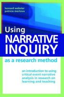 Webster, Leonard; Mertova, Patricie - Using Narrative Inquiry as a Research Method - 9780415379069 - V9780415379069