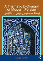 Turner, Colin - Thematic Dictionary of Modern Persian - 9780415567800 - V9780415567800