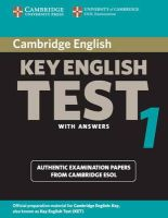 Cambridge ESOL - Cambridge Key English Test 1 Student's Book with Answers: Examination Papers from the University of Cambridge ESOL Examinations (KET Practice Tests) - 9780521528085 - V9780521528085