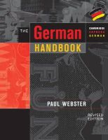 Webster, Paul - The German Handbook: Your Guide to Speaking and Writing German (Cambridge Express German) - 9780521648608 - V9780521648608