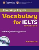 Cullen, Pauline - Cambridge Vocabulary for IELTS with Answers and Audio CD (Cambridge Exams Publishing) - 9780521709750 - V9780521709750