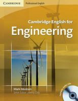 Ibbotson, Mark - Cambridge English for Engineering Student's Book with Audio CDs (2) - 9780521715188 - V9780521715188