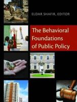 - The Behavioral Foundations of Public Policy - 9780691137568 - V9780691137568