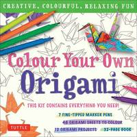 Tuttle Publishing - Colour Your Own Origami Kit (British Spelling): Creative, Colourful, Relaxing Fun [7 Fine-Tipped Markers, 12 Origami Projects, 48 Coloring Sheets, 32-Page Book] - 9780804848411 - V9780804848411