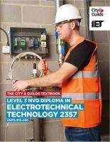 Iet - Level 3 NVQ Diploma in Electrotechnical Technology 2357 Units 305-306 Textbook - 9780851932798 - V9780851932798