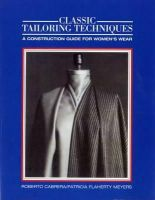 Cabrera, Roberto, Meyers, Patricia Flaherty - Classic Tailoring Techniques: A Construction Guide for Women's Wear (F.I.T. Collection) - 9780870054358 - V9780870054358