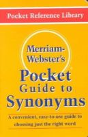 Merriam-Webster - Merriam-Webster's Pocket Guide to Synonyms (Pocket Reference Library) - 9780877795018 - V9780877795018