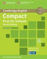 Thomas, Barbara, Matthews, Laura - Compact First for Schools Teacher's Book - 9781107415676 - V9781107415676