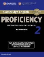 Victorian Association for Environmental - Cambridge English Proficiency 2 Student's Book with Answers: Authentic Examination Papers from Cambridge English Language Assessment (CPE Practice Tests) - 9781107686939 - V9781107686939