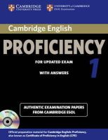 Cambridge ESOL - Cambridge English Proficiency 1 for Updated Exam Self-study Pack (Student's Book with Answers and Audio CDs (2)): Authentic Examination Papers from Cambridge ESOL (CPE Practice Tes - 9781107691643 - V9781107691643