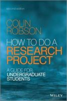 Colin Robson - How to do a Research Project - 9781118691328 - V9781118691328
