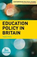Chitty, Clyde - Education Policy in Britain (Contemporary Political Studies) - 9781137309556 - V9781137309556