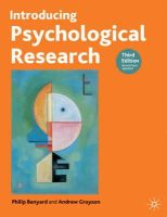 Banyard, Philip, Grayson, Andrew - Introducing Psychological Research: Third Edition - 9781403900388 - V9781403900388