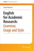 Wallwork, Adrian - English for Research: Usage, Style, and Grammar - 9781461415923 - V9781461415923