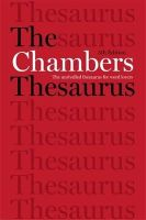 Chambers, Editors of - The Chambers Thesaurus, 5th Edition - 9781473608283 - V9781473608283