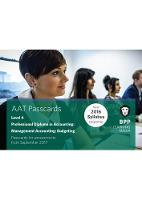 BPP Learning Media - AAT Management Accounting Budgeting: Passcards - 9781509712472 - V9781509712472