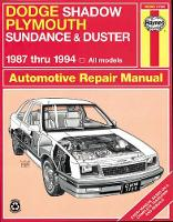 Warren, Larry; Haynes, J. H. - Dodge Shadow/Plymouth Sundance and Duster Automotive Repair Manual - 9781563921858 - V9781563921858