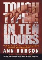 Dobson, Ann - Touch Typing in Ten Hours - 9781845283407 - V9781845283407