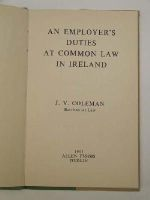 J V Coleman - An Employmer's Duties at Common Law in Ireland -  - KEX0243799