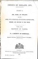 - Census of Ireland 1871 County of Donegal in the Province of Ulster Part 1 Area, Houses, and population also the Ages, Civil Condition, Occupations  .... -  - KEX0309122