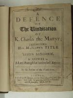 Anon. - A Defence of the Vindication of K. Charles the Martyr; Justifying his Majesty'sTitle to Eikon basilike. In answer to a Late Pamphlet Intituled Amyntor -  - KHS0008996