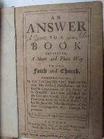 Samuel Grascombe - An Answer to a Book Entitled, A Short and Plain Way to the Faith and Church. Composed Many Years Since, By That (as they site him) Eminent Divine Mr. Richard Huddleston, of the Eng -  - KHS0009157