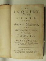 Anon. - An Inquiry into the State of the Ancient Measures, the Attick, the Roman, and especially the Jewish, with an Appendix Concerning Our Old English Money, and Measures of Context -  - KHS0027664