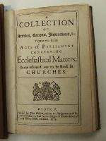 Anon. - A Collection of Articles, Canons, Injunctions, &c.. Together with feveral Acts of Parliament Concerning Ecclesiastical Matters; Some Whereof are to be Read in Churches. -  - KHS0027681