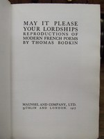 Thomas Bodkin (Editor) - May it Please your Lordships:  Reproductions of Modern French Poems -  - KHS1003312