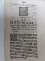 Cromwell in Ireland - An Ordinance Appointing a Committee of the Adventurers for Lands in Ireland, for Determining Differences Among the said Adventurers, 1654 -  - KHS1004418
